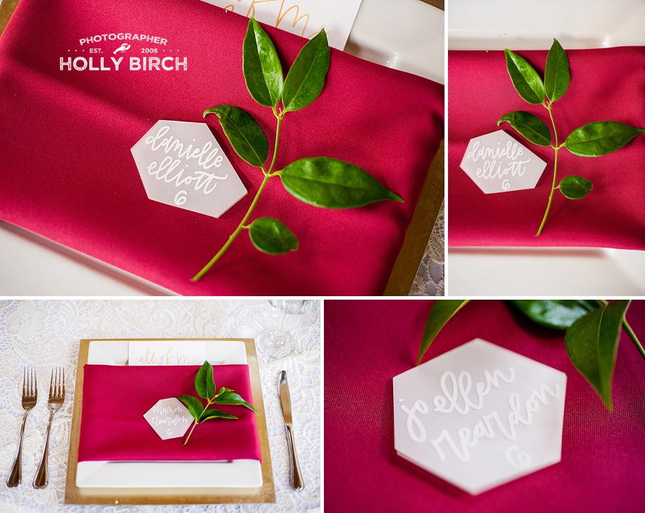 wine colored napkins with vellum name cards