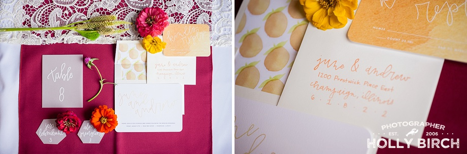 peach theme invitation and envelopes