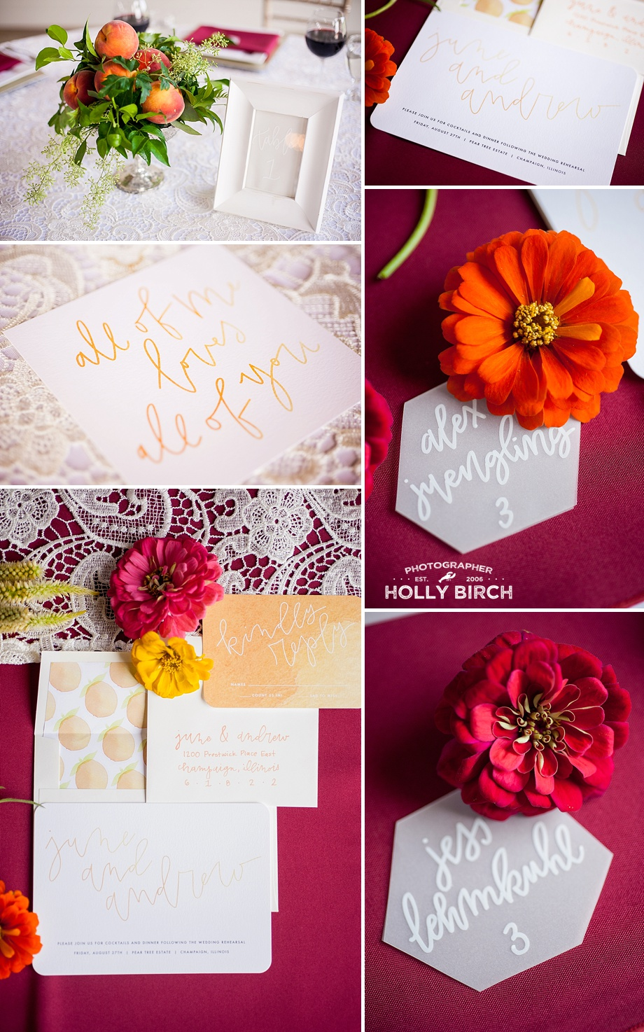 vellum name cards with zinnias
