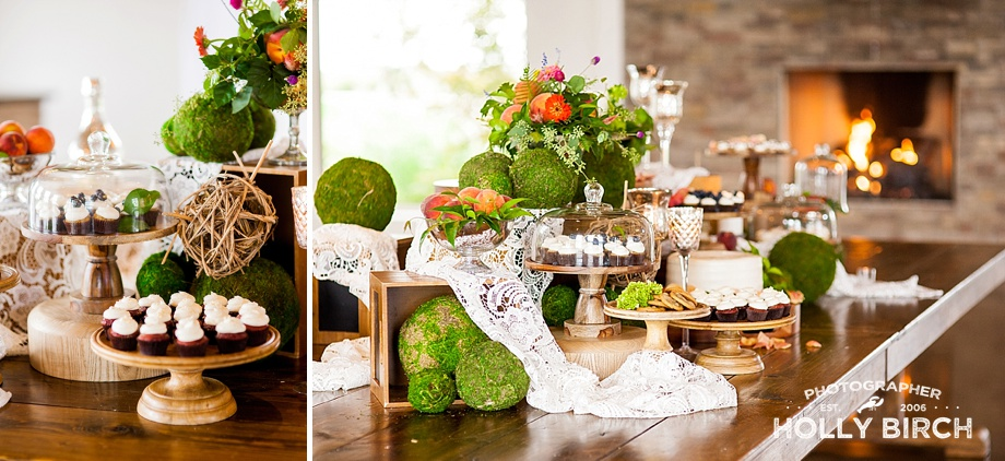 cascading dessert table with greenery