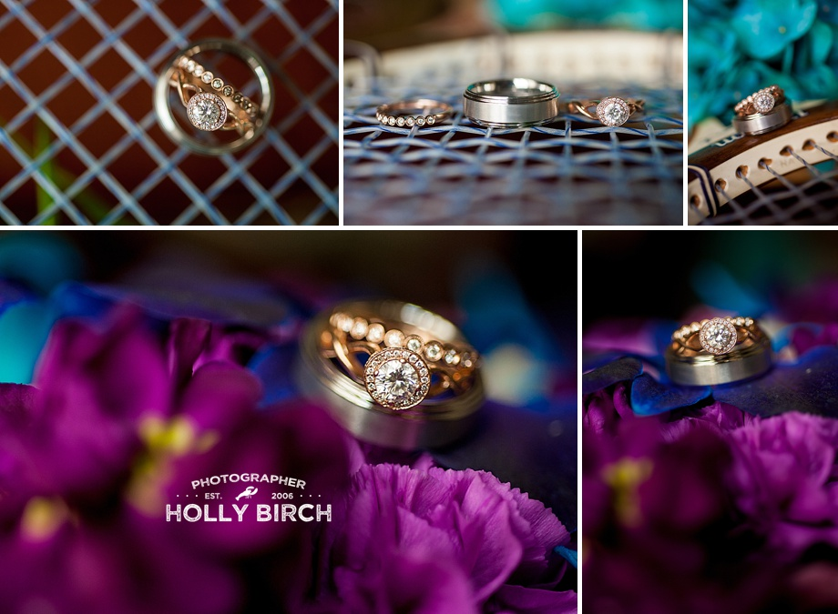 tennis racket wedding ring photos