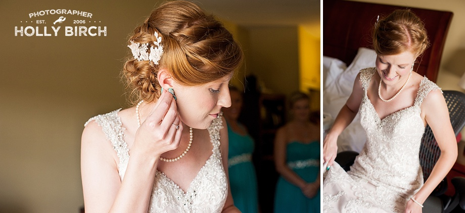 bride putting in earrings