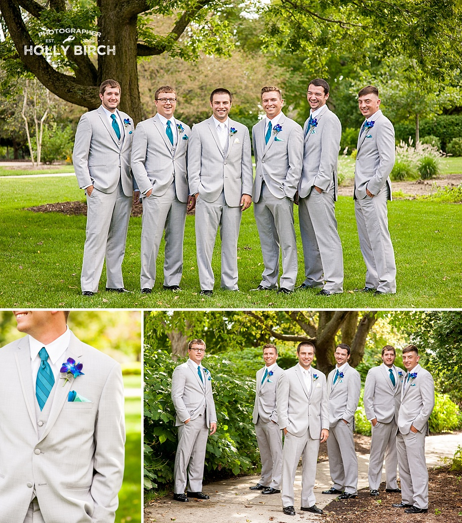 groomsmen with teal ties and pocket squares