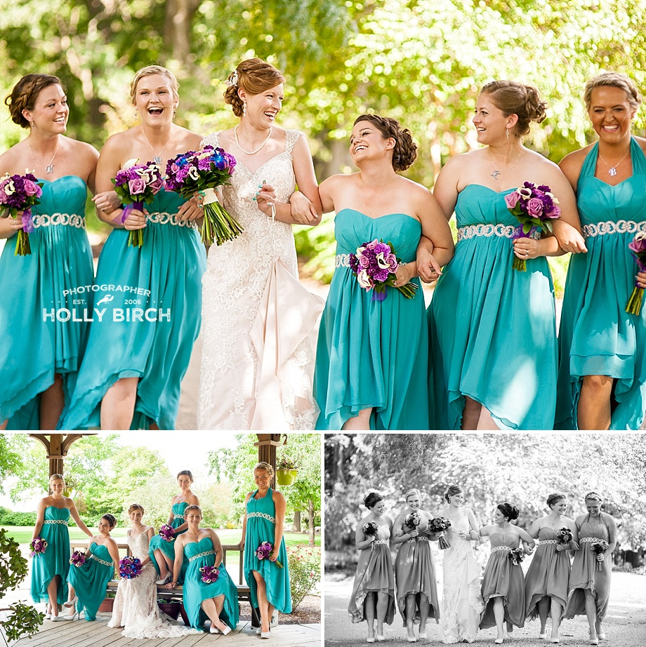 bridesmaids in teal high-low dresses