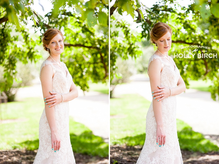 perfect light on bride under a shade tree