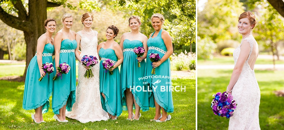 bridesmaids with purple flowers