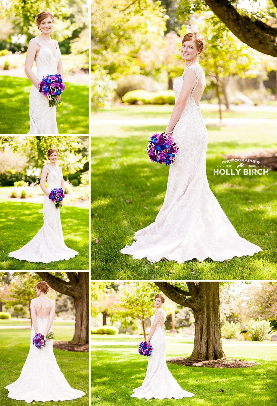 bridal portraits with bright sun under shade tree