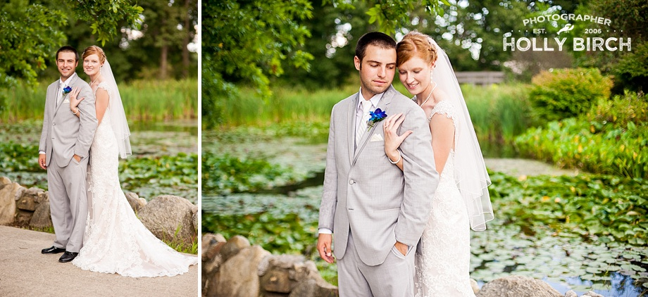 wedding couple with lily pad pond at botanical garden