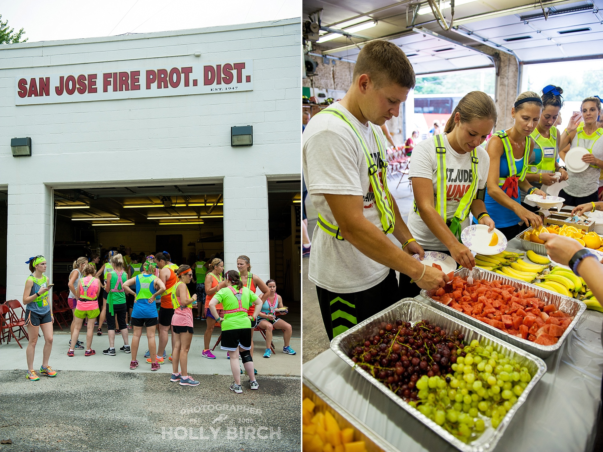 runners stop in San Jose for rest and fruit