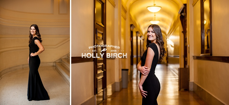 Champaign Judah senior portraits with long black formal gown