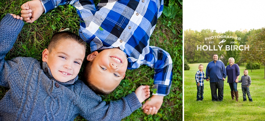 boys lying in grass with nature family session
