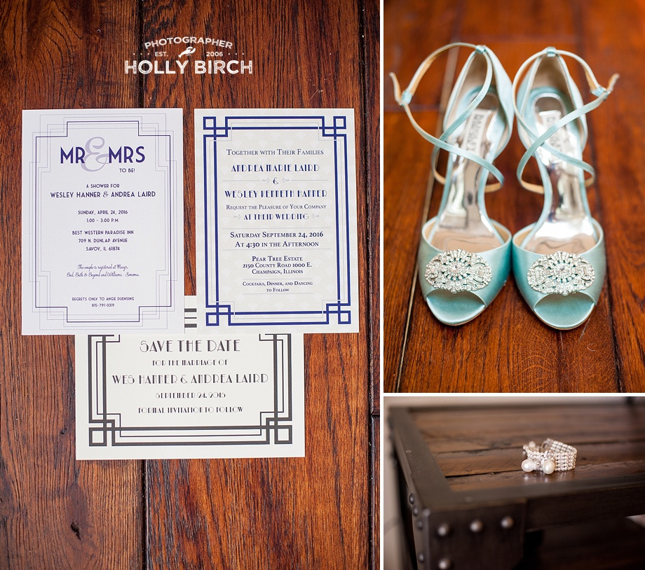 art deco invitations with Badgely Mischka shoes