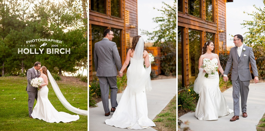 wedding couple walking alongside Pear Tree Estate