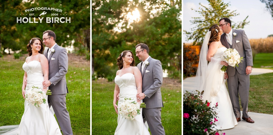 wedding poses with sun setting