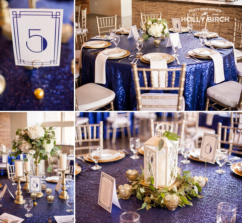 blue sequined tablecloths with gold accents