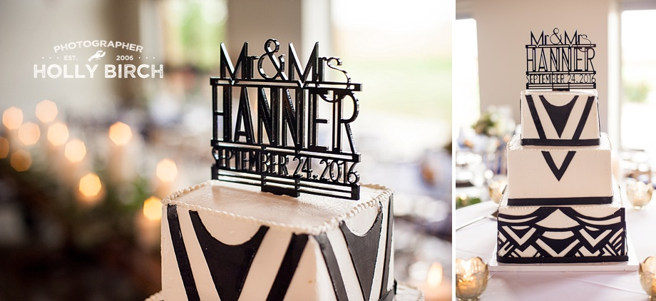 black marquee art deco cake topper