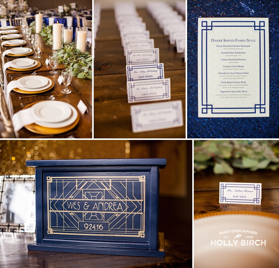 art deco menu with navy place cards