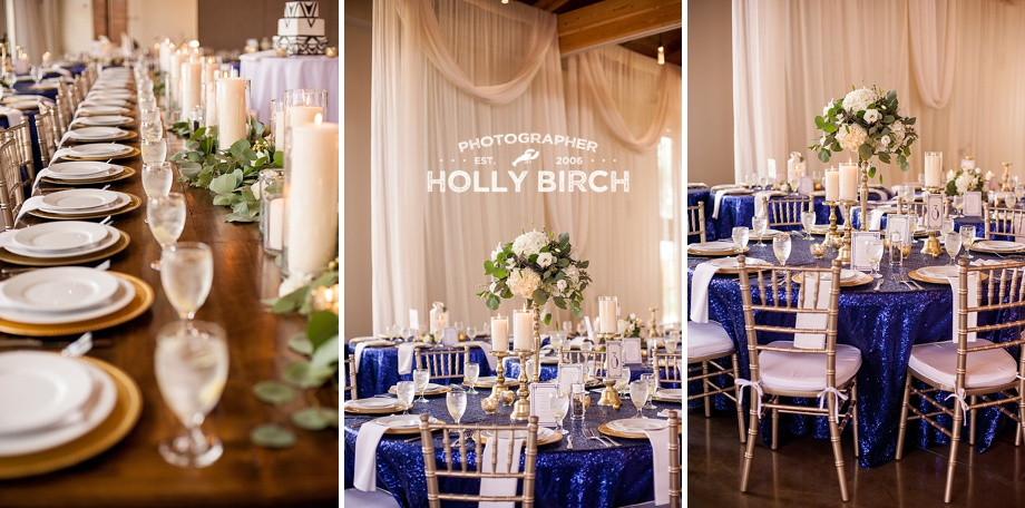 long head table with navy sequined guest tables