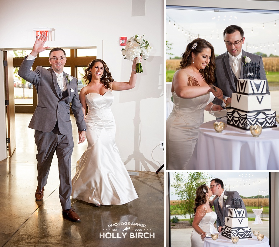 bride and groom entrance and cake cutting