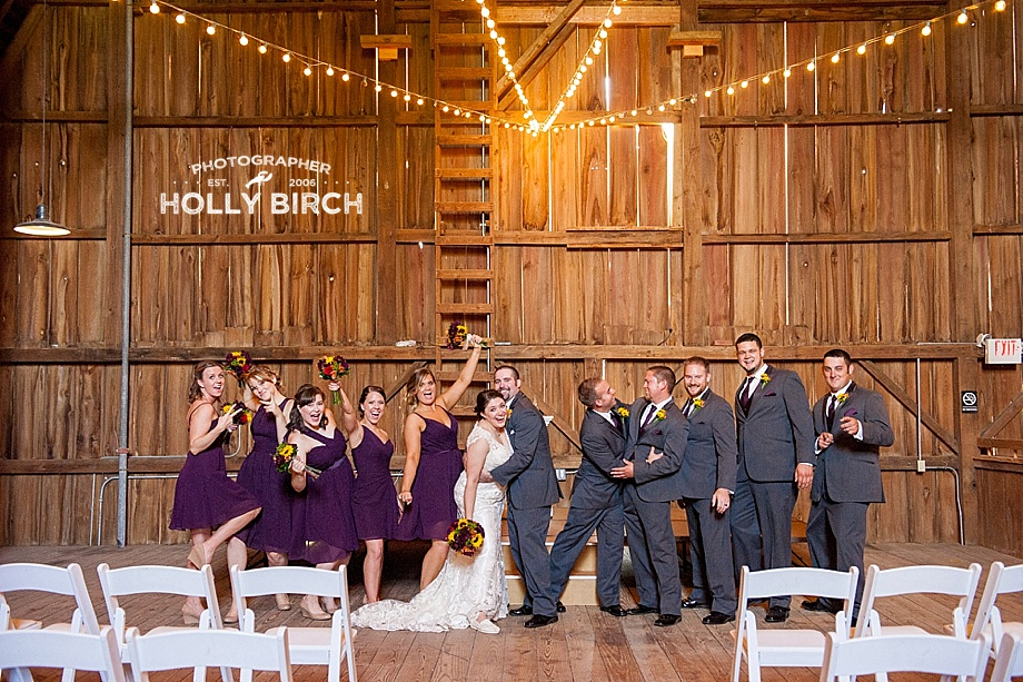 silly wedding party pose