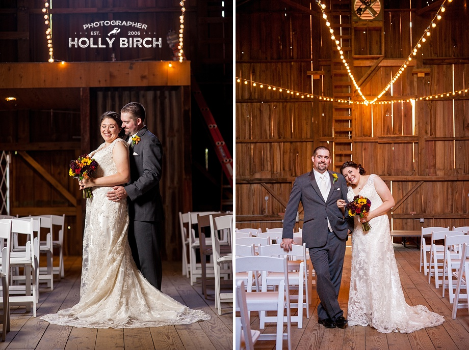bride and groom in barn with off-camera flash