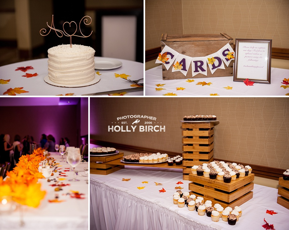 fall wedding details with cupcakes