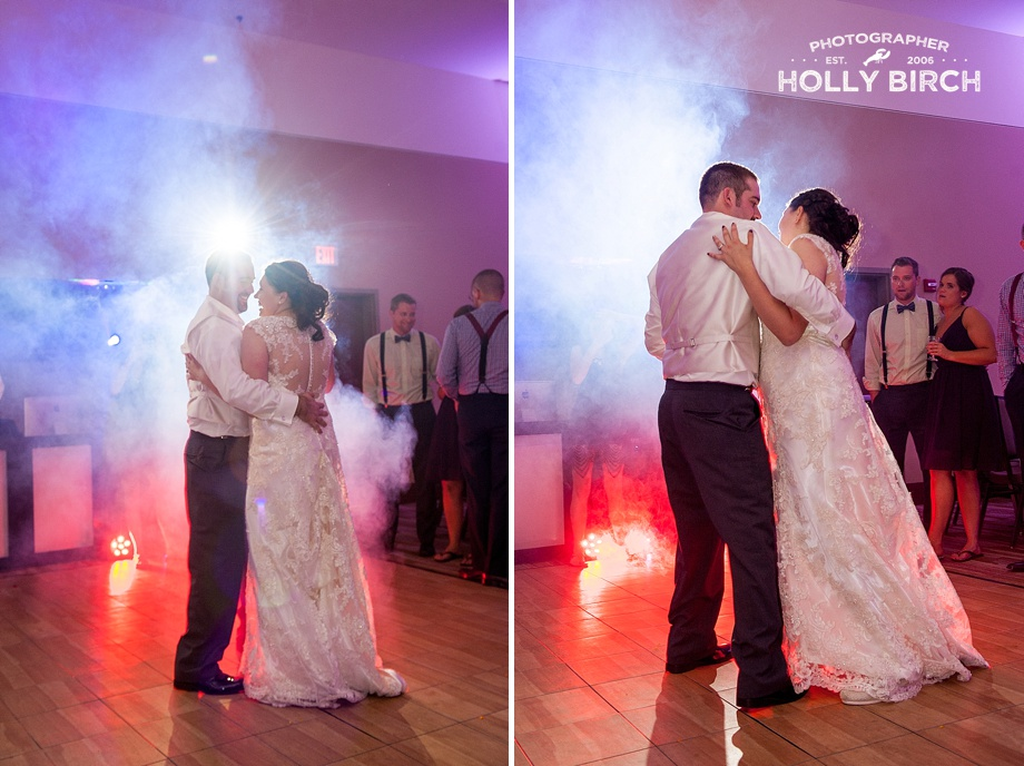 bride and groom dancing with DJ lights and fog machine