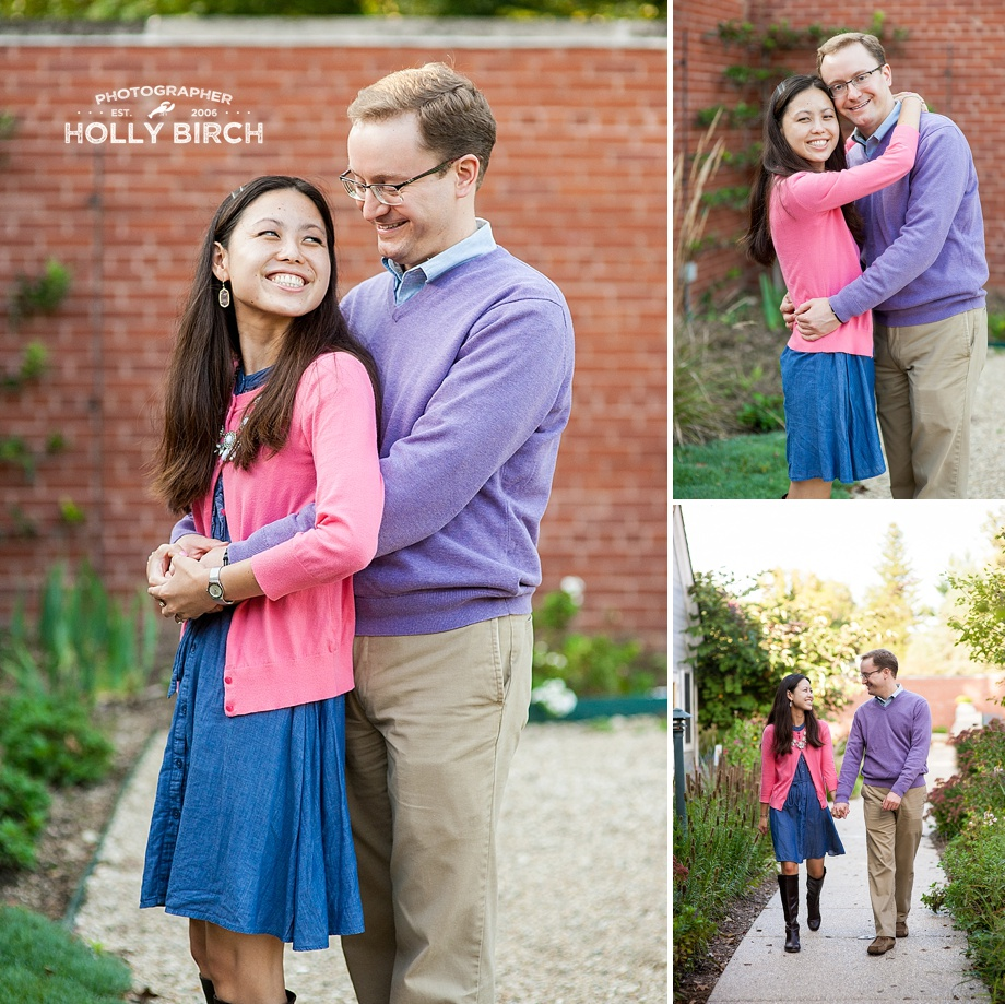 engagement pics in brick walled garden