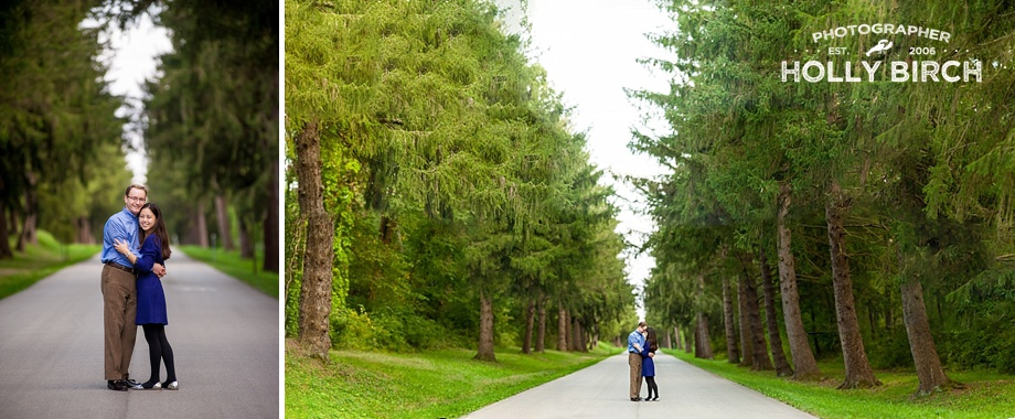Brenizer method engagement photo with tall trees