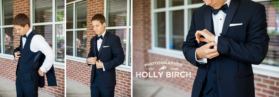groom putting on jacket and adjusting cufflinks
