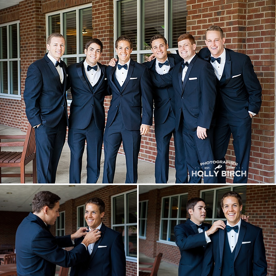 groom finishing prep with groomsmen