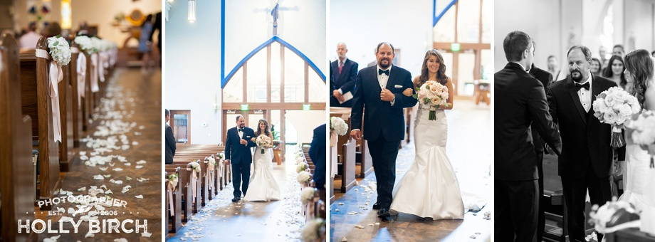bride escorted down the aisle by her father