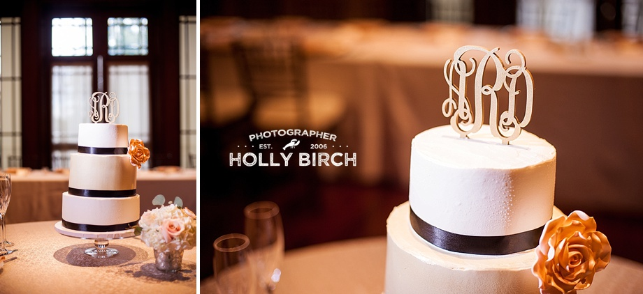 cakes by Lori with gold monogram emblem