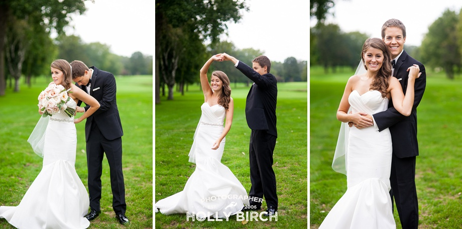 bride and groom dancing on the golf course green