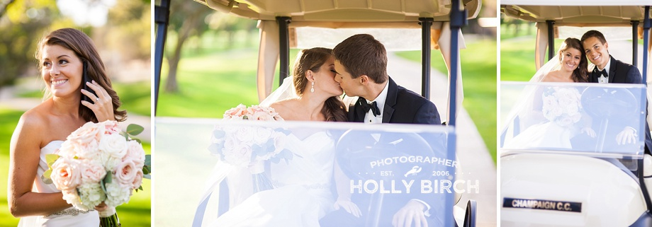 wedding candids with cell phone and golf cart