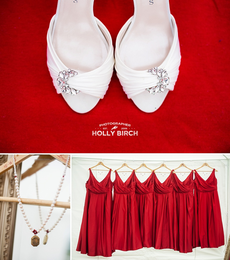red bridesmaid dresses with white blingy shoes