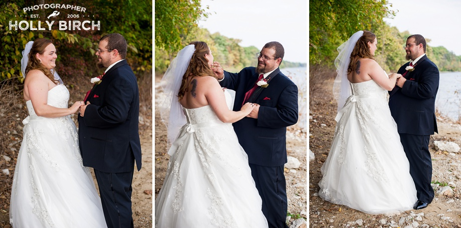bride and groom steal a private moment by the lake