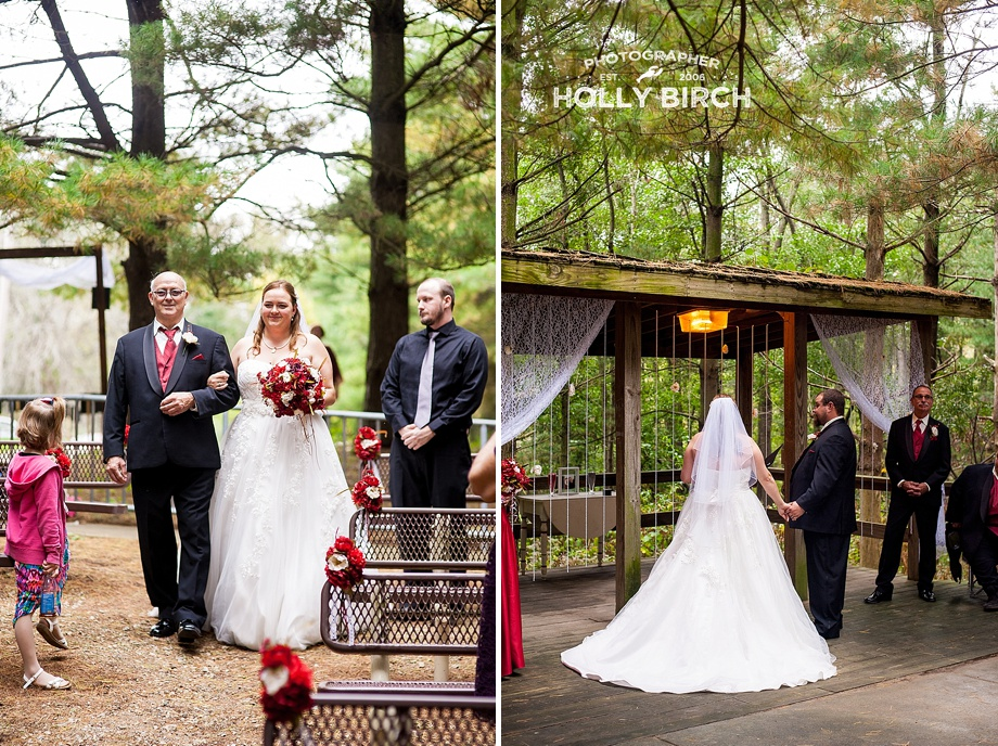woodsy wedding ceremony with bridal entrance