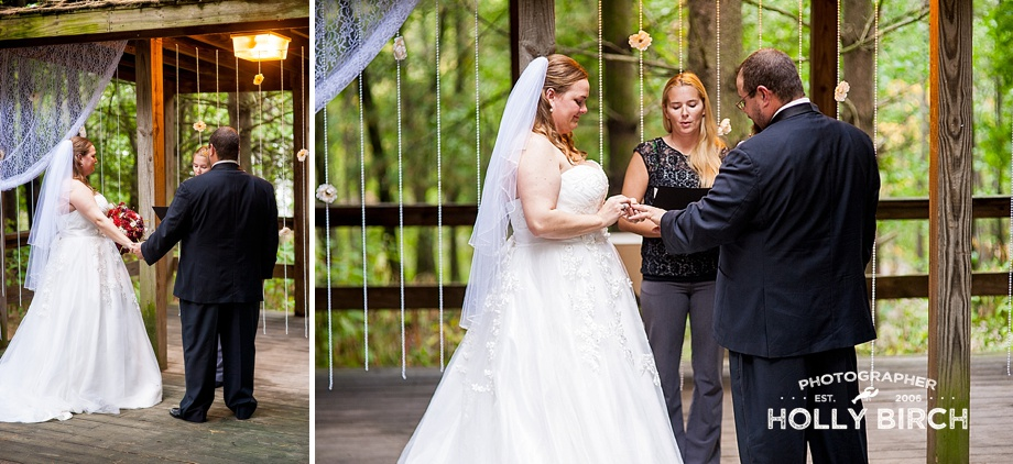bride and groom exchange rings during vow renewal