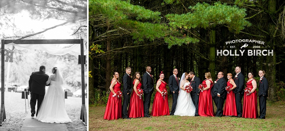 bridal party in wooded area