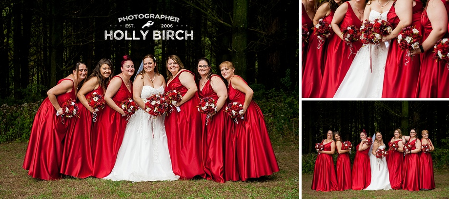 bridesmaids in deep red gowns from David's Bridal