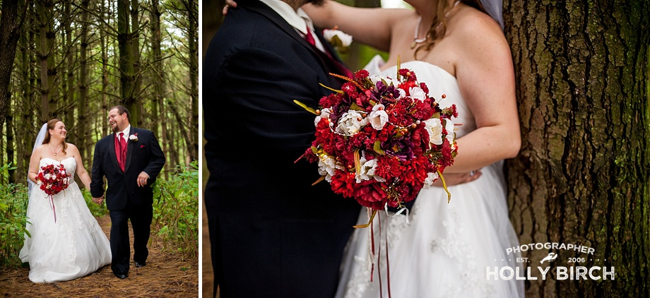 bride and groom in red, white and black