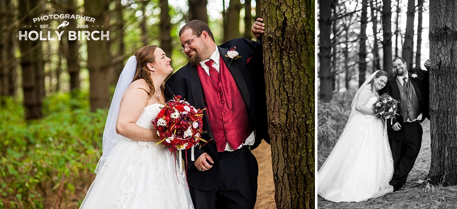 sweet photos of bride and groom among trees
