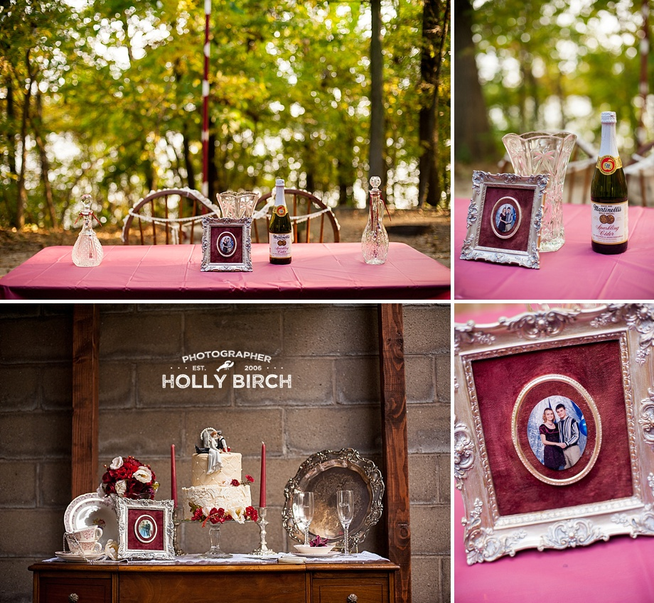 DIY wine red wedding sweetheart table