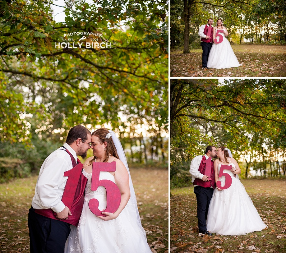 15 year vow renewal with wooden numbers