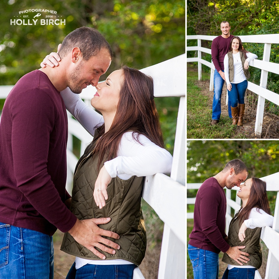 engagement photos with white horse fence