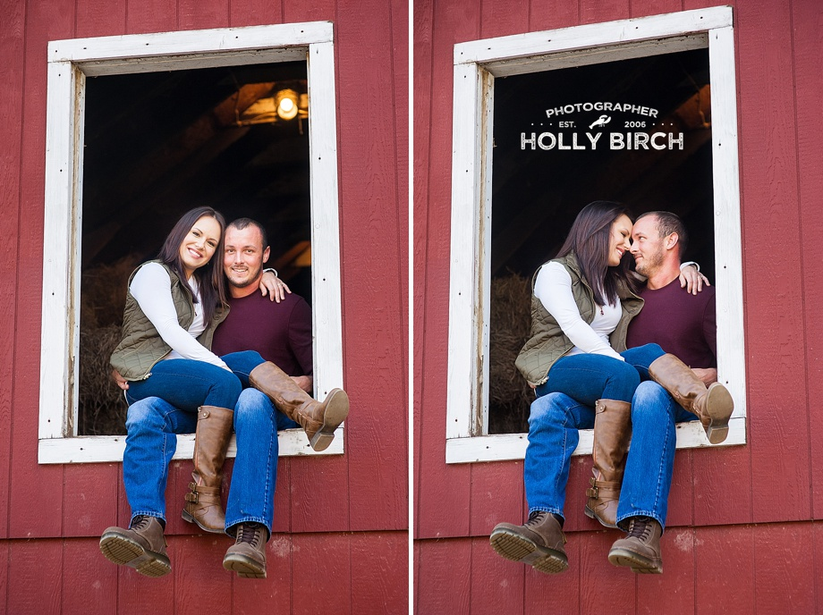 couple kissing in hayloft