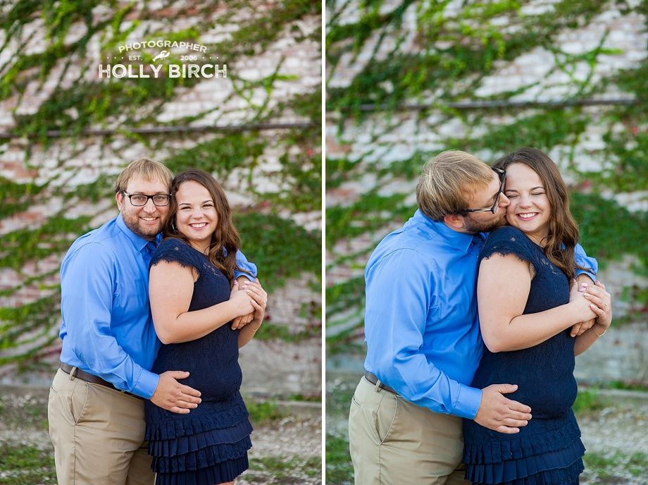 vine covered white brick engagement pictures