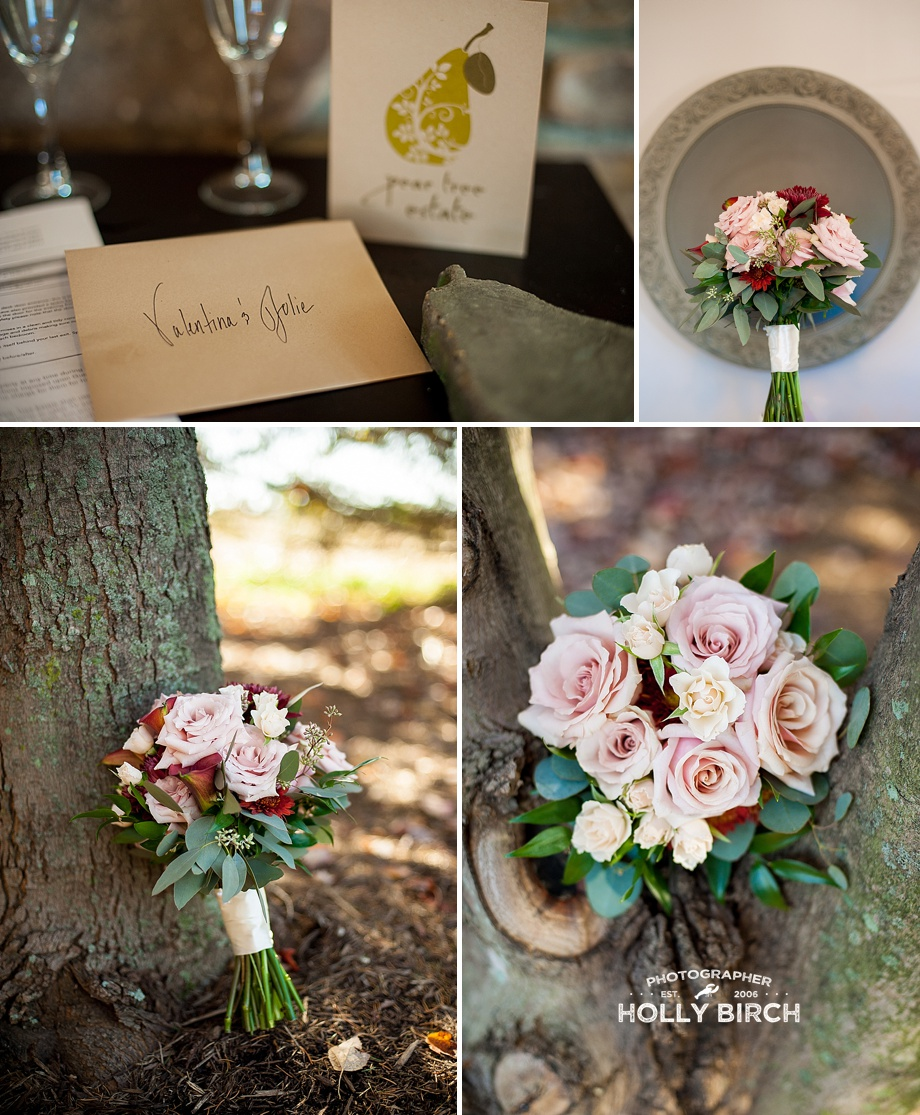 dusty rose blush and deep red floral bouquets