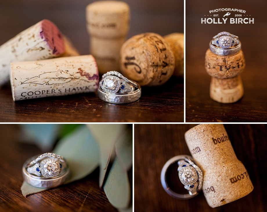 macro wedding ring photography with wine corks
